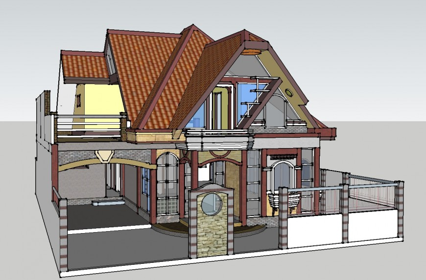 Two-level modern house 3d drawing details skp file
