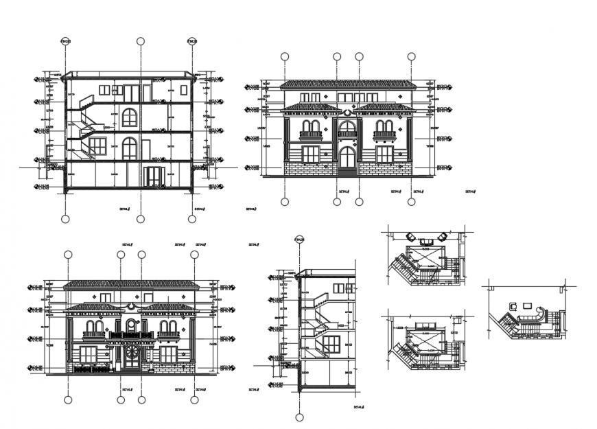Two-level villa all sided elevation and section and auto-cad details dwg file