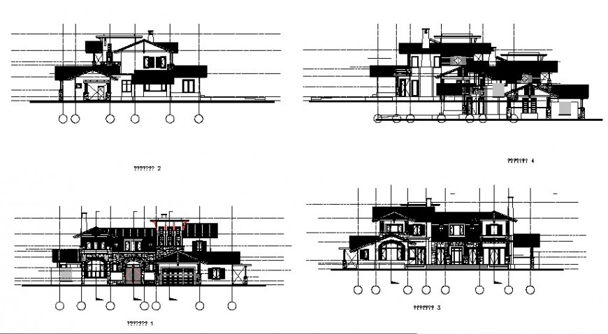 Two-level villa all sided elevation and section details dwg file