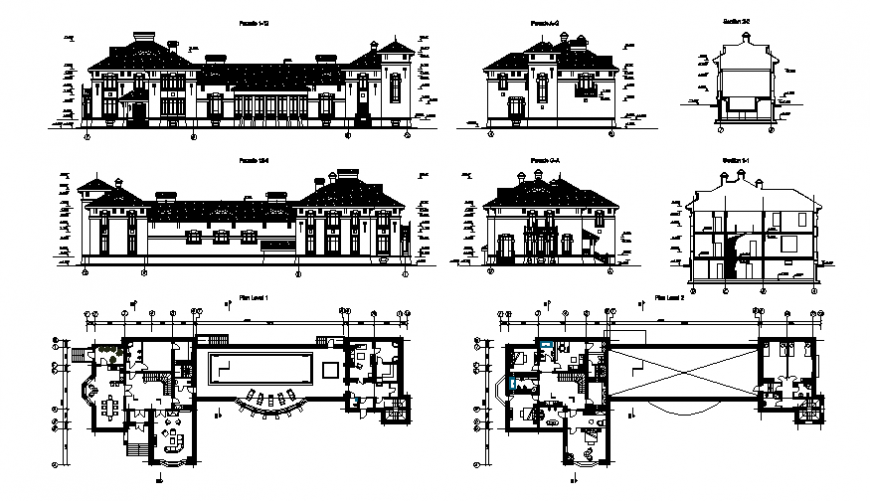 Two-level villa with swimming pool-elevation, section and floor plan details dwg file