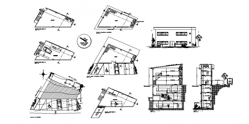 Two-story bi-level store elevation, section, plan and auto-cad drawing details dwg file