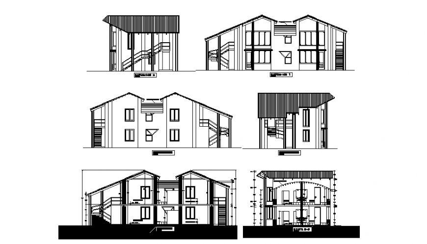 Two-story bungalow all side elevation and sectional details dwg file