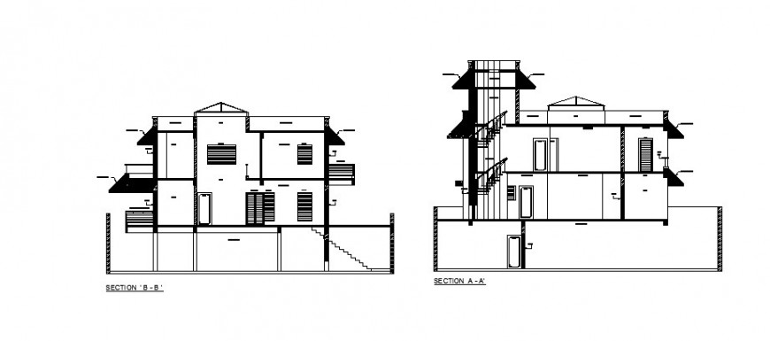 Two-story bungalow facade and back section cad drawing details dwg file
