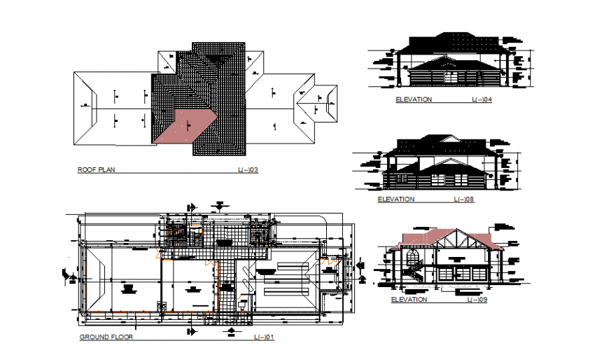 Two-story club house elevation, section, roof plan and ground floor details dwg file