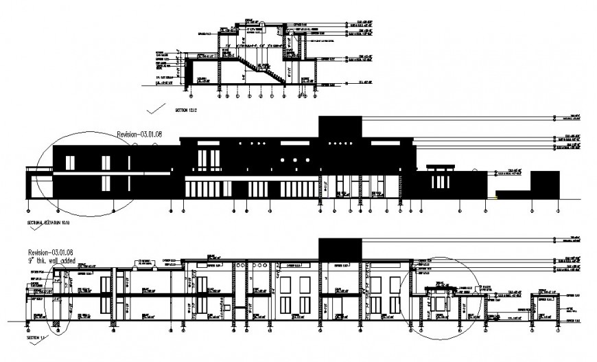Two-story corporate office building elevation, section and auto-cad drawing details dwg file