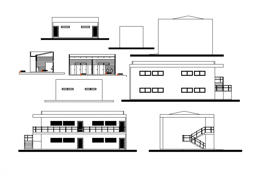 Two-story house all sided elevation and section cad drawing details dwg file