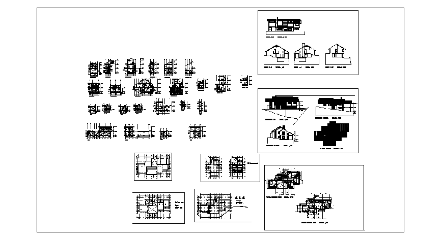 Two-story house detailed architecture project dwg file