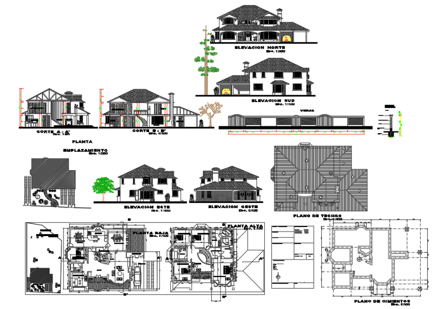 Two-story house elevation, section, floor plan and auto-cad details dwg file