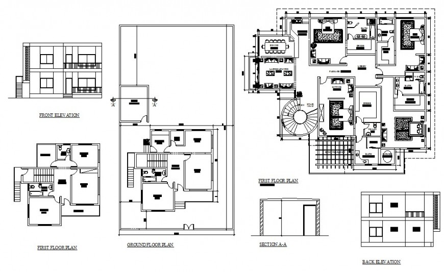 Two-story house elevation, section, ground and first floor plan cad drawing details dwg file