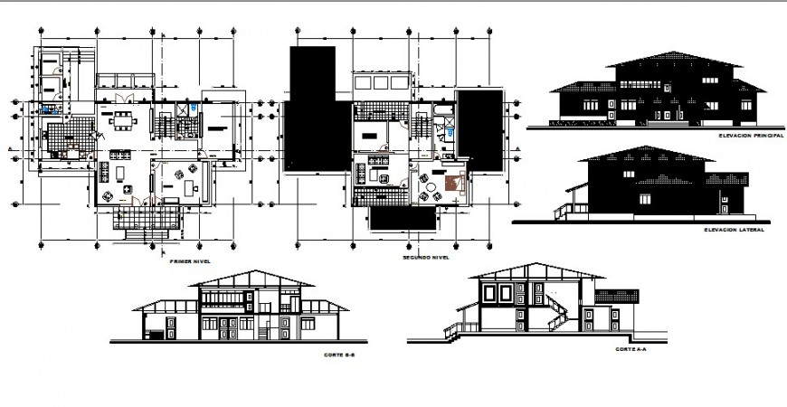 Two-story house elevation, section and floor plan cad drawing details dwg file