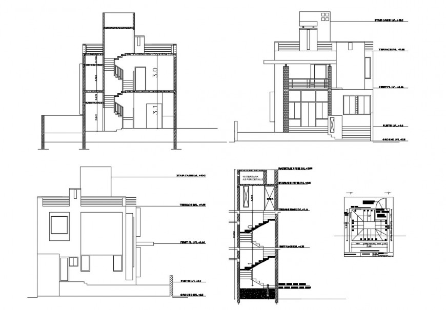Two-story house elevation, section and staircases section cad drawing details dwg file