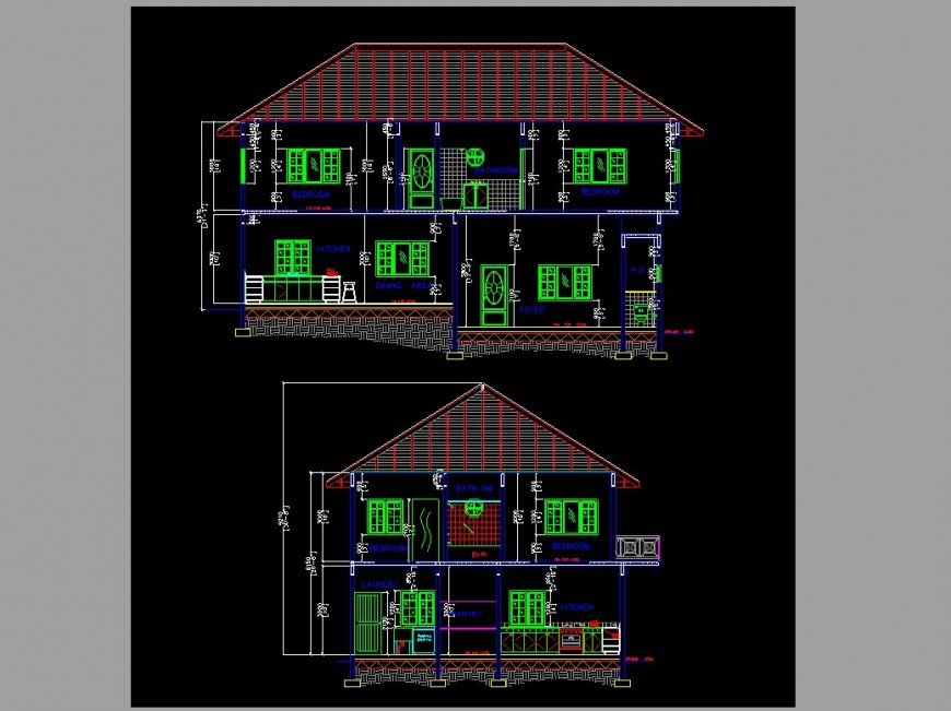 Two-story house front and back section cad drawing details jpg file