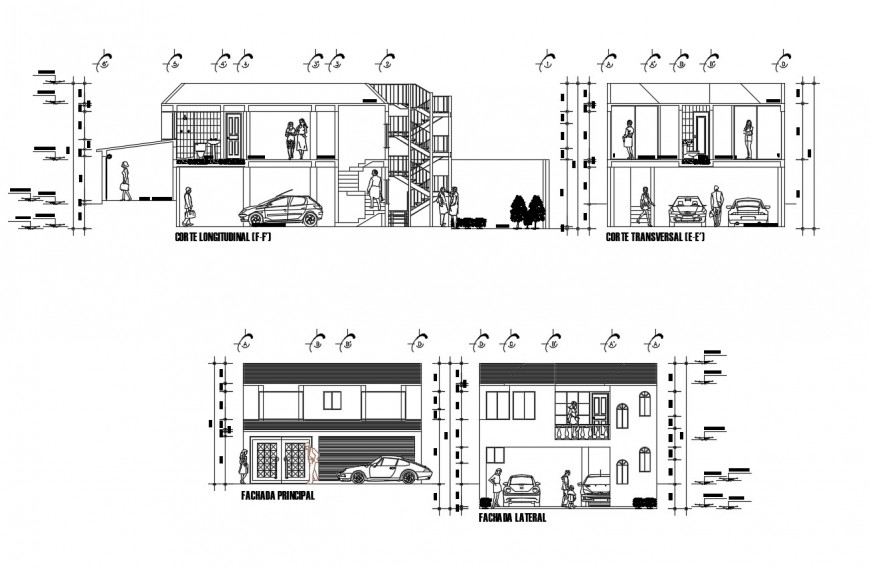 Two-story house main elevation and all sided section cad drawing details dwg file