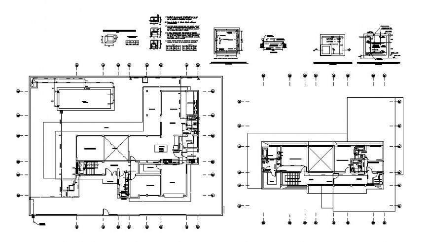 Two-story house plan and sanitary installation with water system cad drawing details dwg file