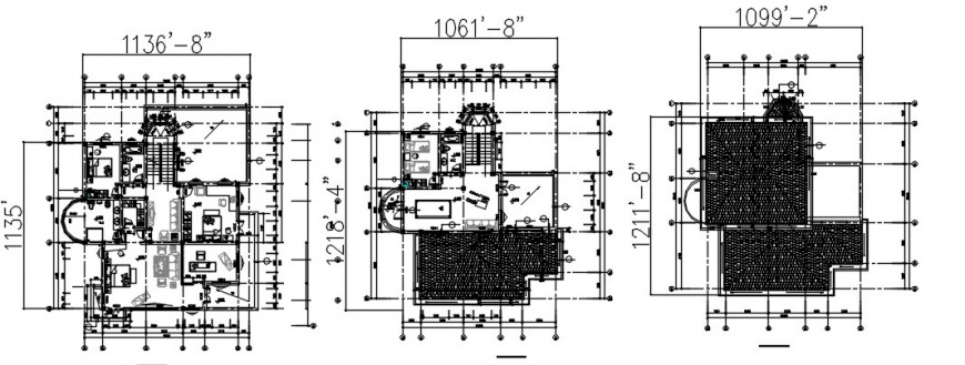 Two-story housing bungalow CAD layout floor plan dwg file