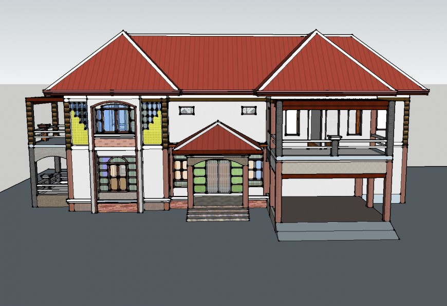 Two-story one family house 3d drawing details skp file