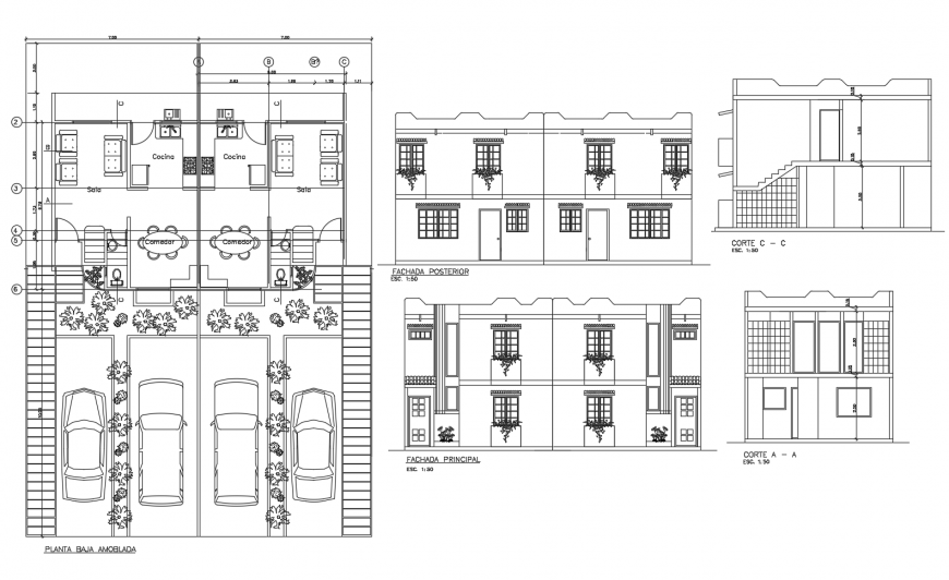 Two-story residential house elevation, section and layout plan cad drawing details dwg file