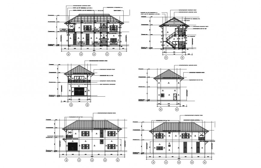 Two-story residential house elevation and section cad drawing details dwg file