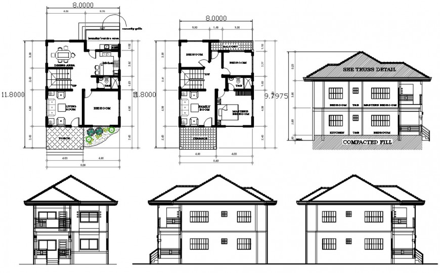 Two-story roof house elevations and floor plan distribution drawing details dwg file