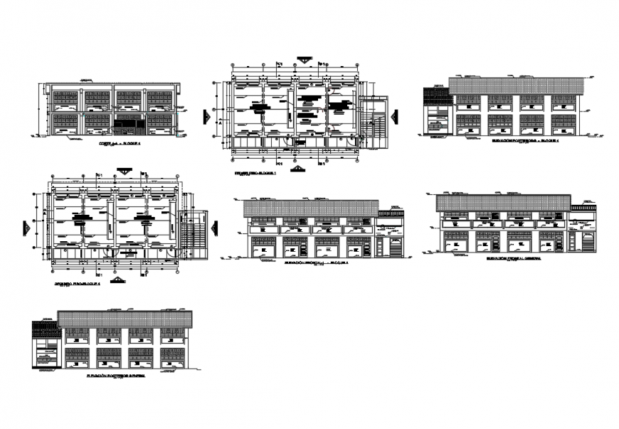 Two-story school building all sided elevation, section and floor plan details dwg file