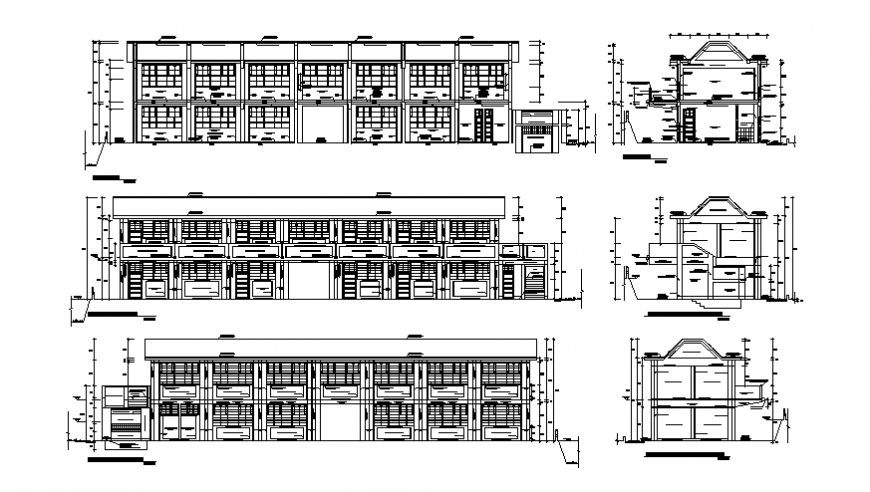 Two-story school building all sided elevation and sectional details dwg file