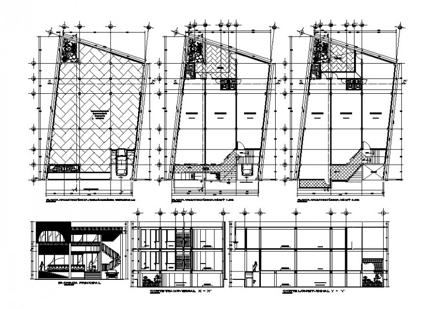 Two-story store all sided section, floor plan and auto-cad drawing details of store dwg file