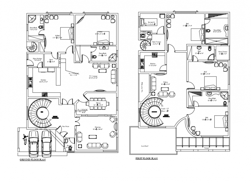 Two-story town house floor plan layout details dwg file