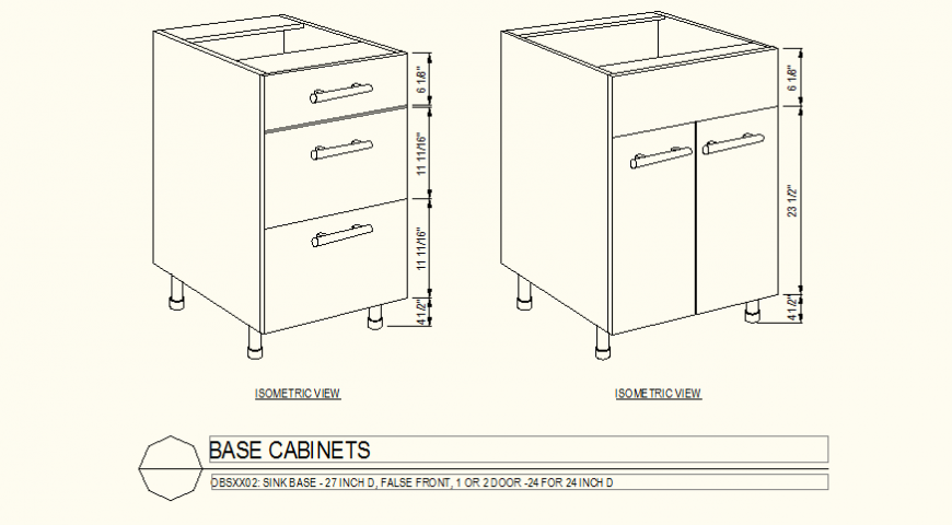 Two base cabinet plan detail dwg file