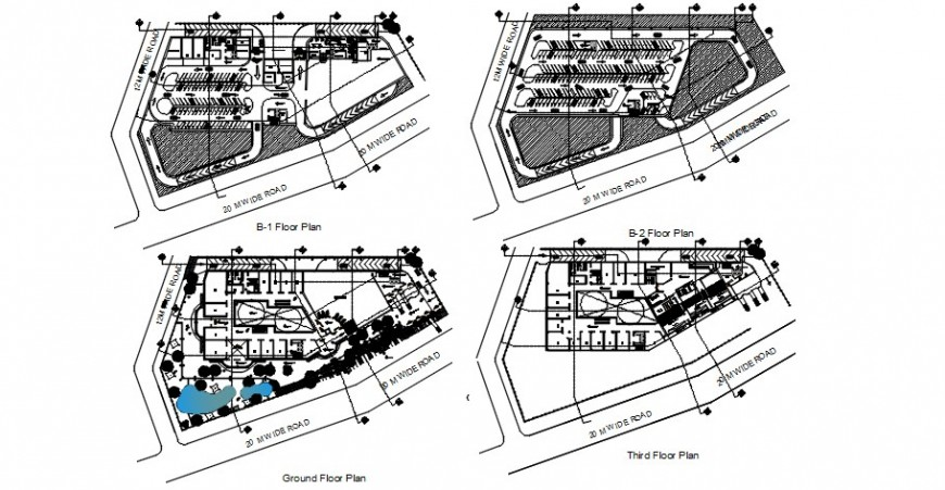 Two basements, ground and third floor plan drawing details of shopping mall building dwg file