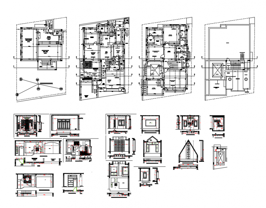 Two bedroom bungalow floor plan and wall details dwg file