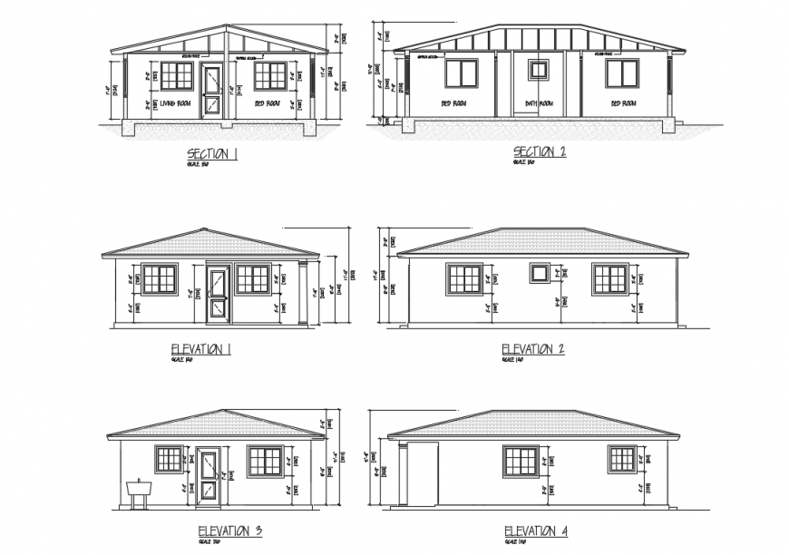Two bedroom house all sided elevations and sectional details dwg file