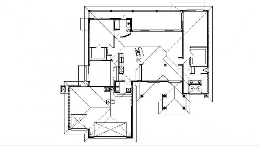 Two bedroom house floor framing plan structure details dwg file