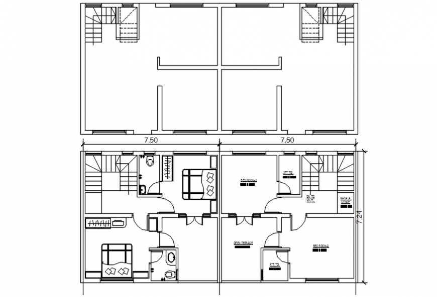 Two bedroom house layout plan and cover plan drawing details dwg file