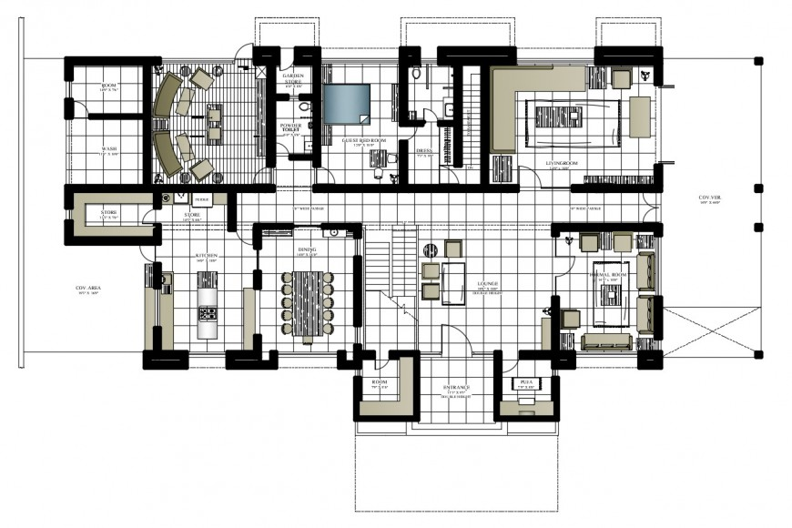 Two bedroom house layout plan with furniture layout 2d drawing details dwg file
