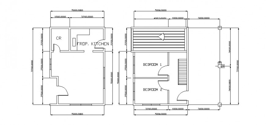 Two bedroom new house architecture layout plan cad drawing details dwg file