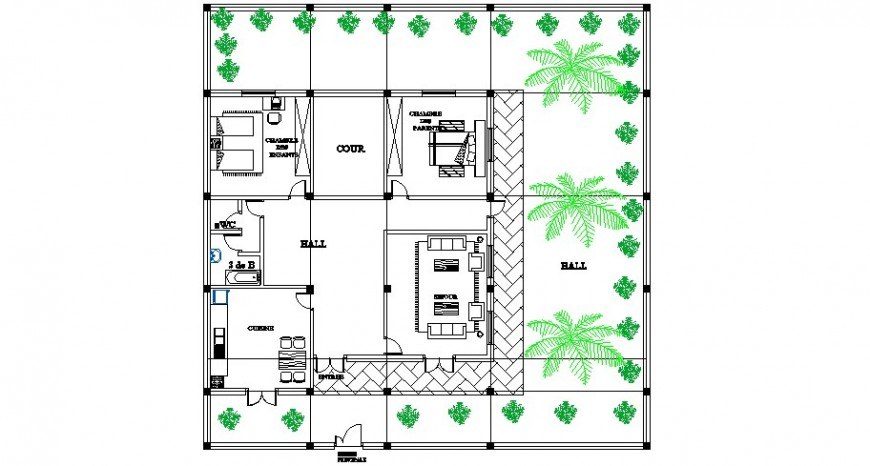 Two bedroom one family house architecture layout plan cad drawing details dwg file