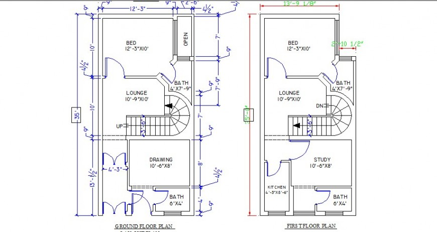 Two bedroom one family house ground and first floor plan cad drawing details dwg file