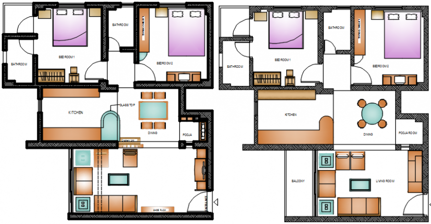 Two bedroom residential houses layout plan with furniture cad drawing details dwg file