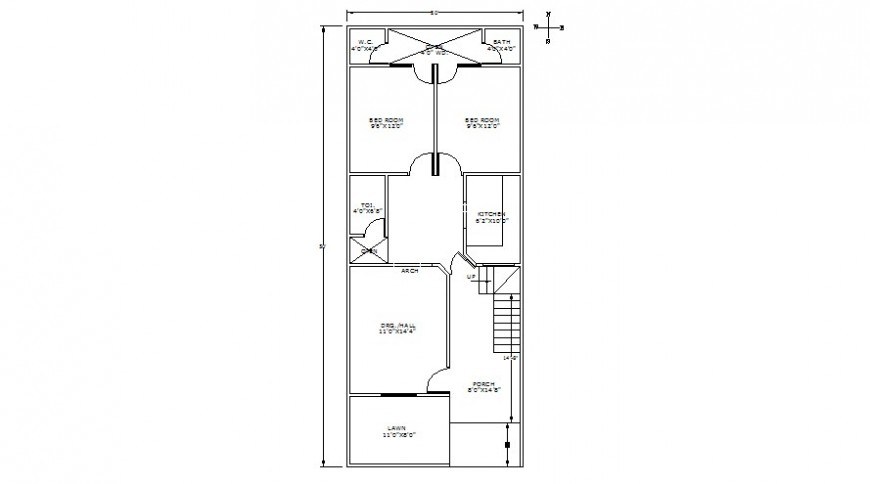Two bhk house drawings 2d view work layout plan details in autocad software file
