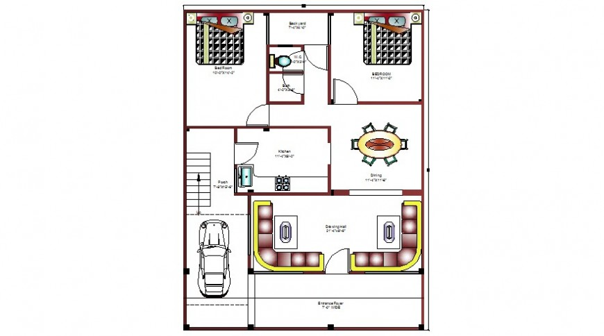 Two bhk house drawings layout plan autocad softwrae file