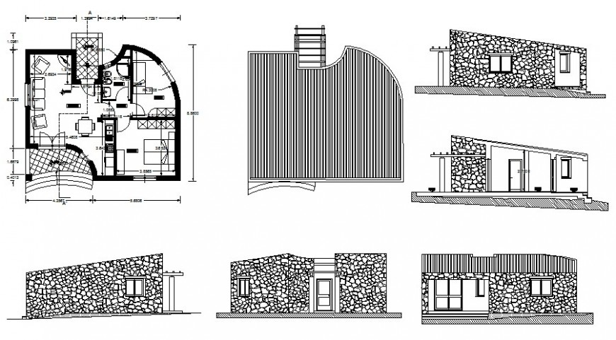 Two bhk House plan and elevation drawing in autocad