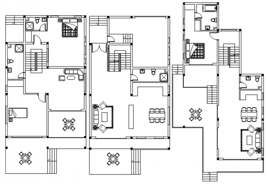Two bhk housing apartment layout plan CAD drawings dwg autocad file