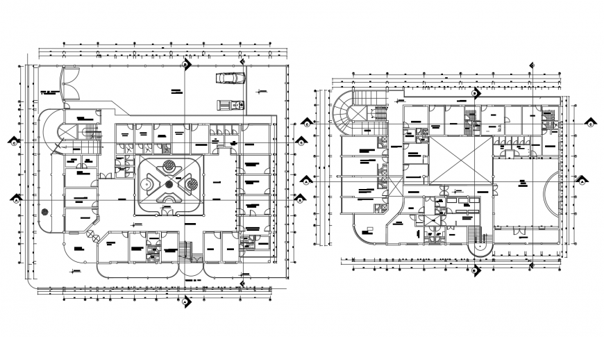 Two distribution layout plan drawing details of health center building dwg file