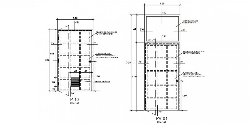 Two doors elevation blocks drawing details dwg file