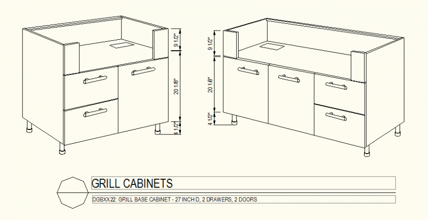 Two drawer two door detail grill cabinet plan autocad file