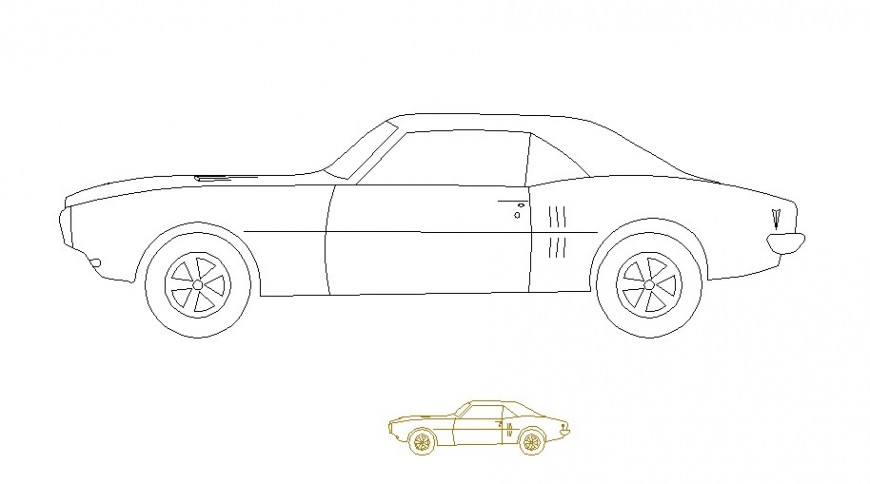 Two family car side elevation blocks cad drawing details dwg file
