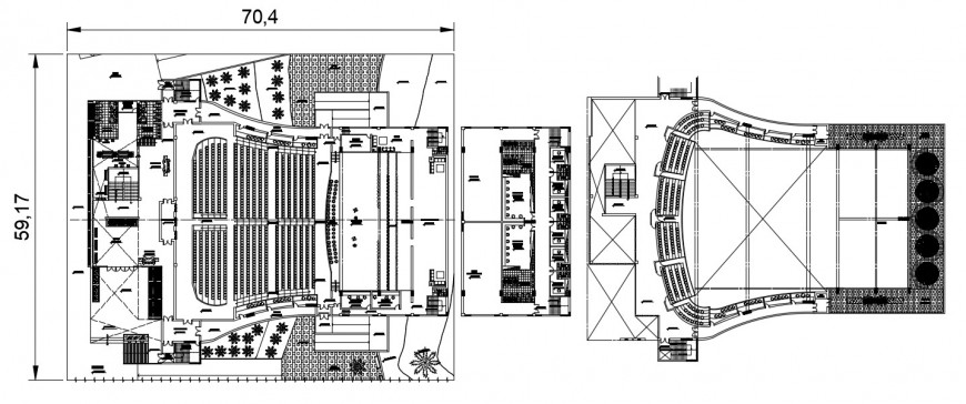 Two floor distribution details for multiplex theater dwg file
