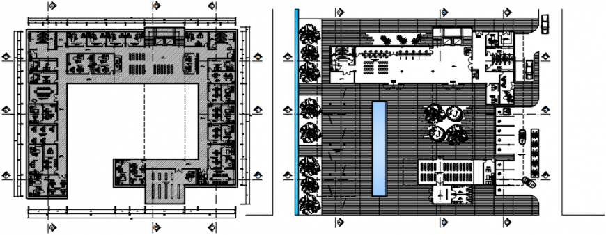 Two floor distribution drawing details of municipal office building dwg file