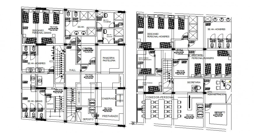 Two floor distribution layout plan drawing details of hostel building dwg file