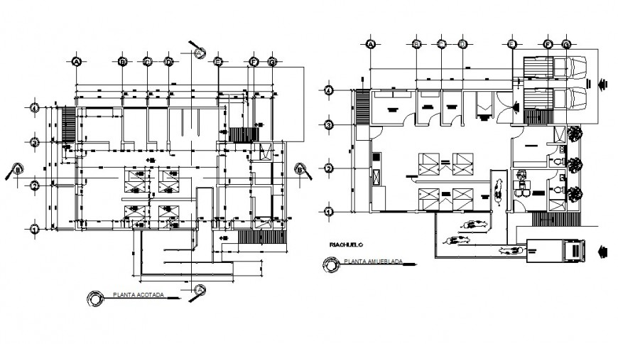 Two floor distribution plan details of municipal slaughter office dwg file